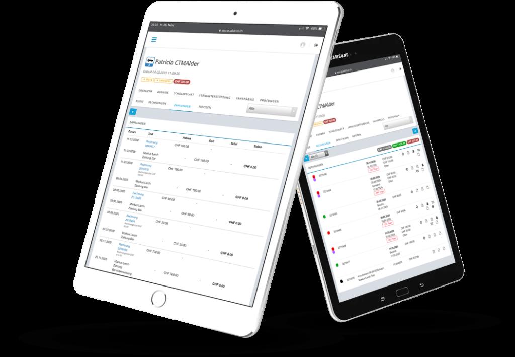QualiDrive - Fahrschule verwalten, Ausbildung dokumentieren, mit Schülern kommunizieren. QualiDrive by CTM Alder AG.