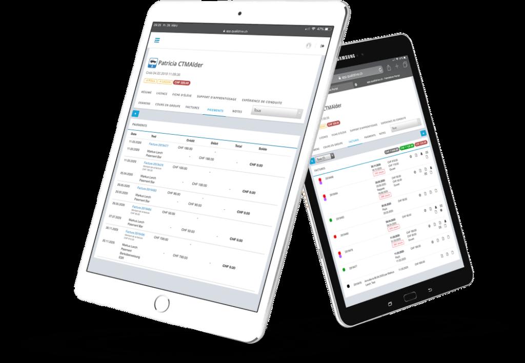 QualiDrive - Gérer une auto-école, documenter les formations, communiquer avec les élèves. QualiDrive de CTM Alder AG.